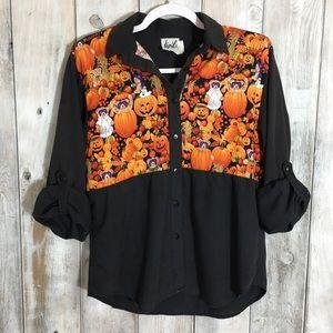 Vintage Halloween Fall Pumpkin Button Down Shirt S